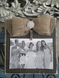 Rustic and Distressed Frame with Burlap Bow and Brooch via Etsy.