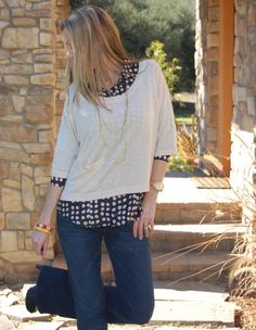 cute blouse & sweater combo