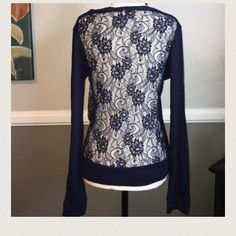 Only 1 large left! Electric Yoga lace cardigan ⚡Lightweight cardigan is the perfect after workout accessory and pretty enough to wear with jeans or a skirt too! Electric Yoga offers unique yarns and fabrics to create both great fit and style to the new generation. Electric Yoga lace cardigan is Super cute and comfy and super functional. Navy blue. 96% polyester, 4% spandex. Don't be basic, be electric!⚡️ Electric Yoga Tops