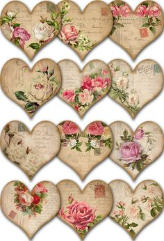 Craft Stick Crafts, Diy And Crafts, Paper Crafts, Valentine Heart, Valentine Crafts, Shabby, Shaped Cards, Romantic Roses, Mother's Day Diy