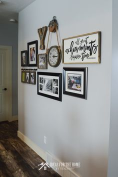 Love the look of a collage of family pictures on a living room wall? This easy idea to make a family photo gallery wall will help you hang one like a pro! Grey Walls Living Room, Family Room Walls, Living Room Photos, Family Picture Walls, Family Photos On Wall, Family Wall Collage, Wall Picture Collages, Picture Groupings, Collage Photo