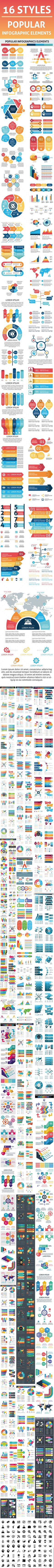 Bundle Popular Infographics Element Templates Vector EPS, AI Illustrator