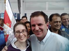 Flávia Almas (jornalista) e Eduardo Paes (Prefeito da cidade do Rio de Janeiro)