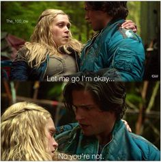 Finn and Clarke, during the hemorrhagic fever, he caught her as she was fainting.  What every girl dreams of!