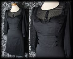 Gothic Black Lace Bib DEVIATION Fitted Button Dress 10 12 Victorian Vintage 50's - £36.00