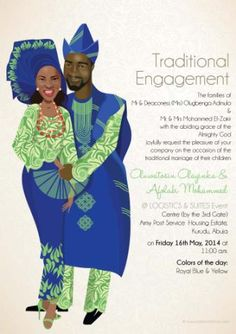 My Traditional Wedding Invite. @Bibi Invitations Lemon green. Royal blue. Colors. Yoruba wedding
