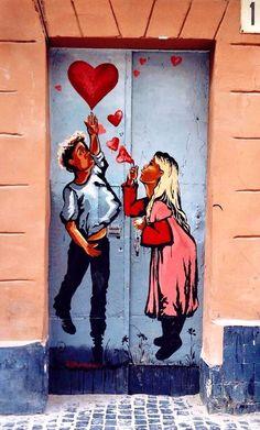Love is uplifting with this creative street art piece in Lviv, Ukraine Entrance Doors, Doorway, Doors Galore, When One Door Closes, Knobs And Knockers, Door Gate, Unique Doors, Painted Doors, Street Art Graffiti