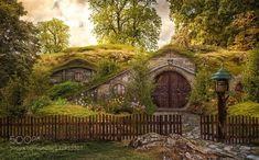 The Shire by TriskelantCmi Gnome Village, Fairy Village, Hobbit Hole, The Hobbit, Beautiful Architecture, Beautiful Landscapes, Tolkien, Casa Dos Hobbits, Fairytale Cottage