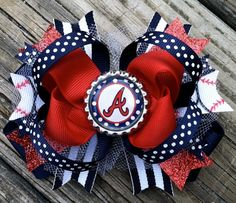 ATLANTA BRAVES Hair Bow Boutique Style Atlanta Braves Baseball Bottle Cap Hair Bow with Tulle Glitter Red Navy Stripes Toddler Girls MLB Bow