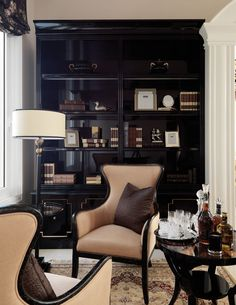 Office Inspo, Office Decor, Home Office, Design Interiors, Interior Design, Church Office, Wooden Room, Black Cabinets, Traditional Interior