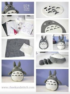 Diy totoro OMG that's all ! 👉🏽👉🏽A Totoro fan?Do you like these Totoro Crafts Ideas? for more Totoro Disegni? Sewing Crafts, Sewing Projects, Craft Projects, Diy Toys Sewing, Sewing Dolls, Cute Crafts, Felt Crafts, Simple Crafts, Baby Crafts