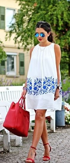 white + blue embroidered dress | re-pinned by http://www.wfpblogs.com/author/rachelwfp/