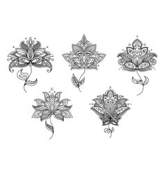 Black and white floral motifs of persian style vector. Lotus henna tattoo by Seamartini on VectorStock®
