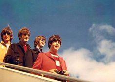 Fresh faced on arrival.... The Beatles, john paul george ringo.