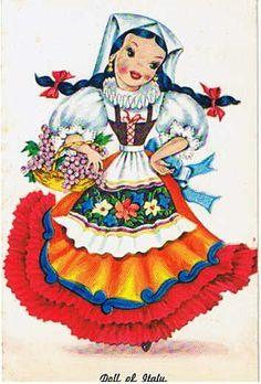 Vintage Italian Postcard  Dolls of Many Lands