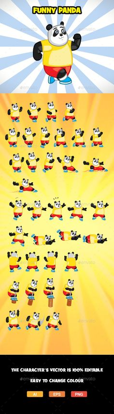 Funny Panda character spritesheet for side scrolling action adventure2D mobile game. The sprites vector are 100 editable. Easy to change color. The files included: Adobe Illustrator CS6,CS formats (Ai). Encapsulated PostScript CS6, CS formats (EPS). Transparent Portable Network Graphics (PNG). Animations Preview (GIF). Rate and comment more ap