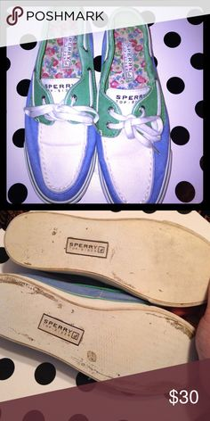 SPERRY Top Sider! Size 6. EUC! ⛵️ Very preppy and comfy SPERRY's! Blue, green & white. Worn just a few times! Size 6. Sperry Top-Sider Shoes Flats & Loafers