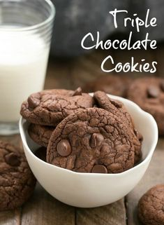 Triple Chocolate Cookies - The epitome of chocolate decadence in a small package! #cookies #chocolatecookies #triplechocolate