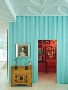 I want my walk-in to have a punch of coral contrasting will the turquoise walls