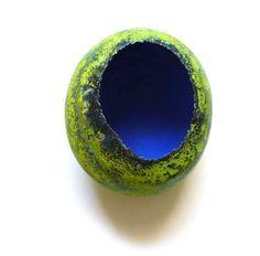 Annamaria Zanella, Brooch: Green Cell, 2012, silver, vitreous enamel,  7 x 5 x 2.5 cm