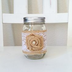 Burlap+and+Lace+Mason+Jar+with+Rosette+by+MaesieGraceCreations,+$6.50