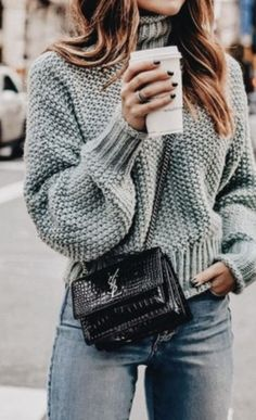 knit turtlenecks + ysl crossbody + denim jeans || outfit ideas #ootd