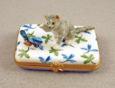 New French Limoges Box Tiger Striped Tabby Cat with Cute Bird on Blue Floral Box | eBay