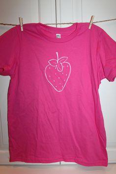 Children's ScreenPrinted Strawberry T-Shirt by ThisLittlePiggyNWA on Etsy, $22.00
