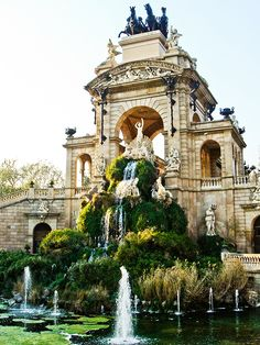 The pond and waterfalls of the Cascada monument in the Parc de la Ciutadella - Barcelona, Spain