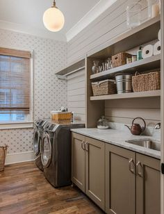 Shiplap more affordable alternative to tile backsplash in the laundry room- also some open shelving is an option
