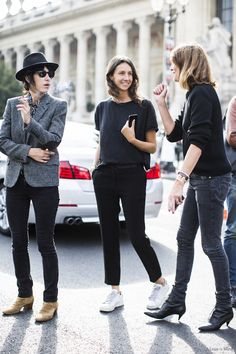 The French Vogue team doing shades of black and grey perfectly. I love Geraldine's chic trousers...