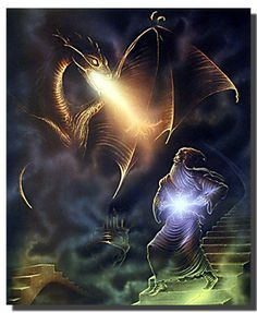 Make your interiors pop out with excitement by hanging this magical dragon wizard fire fantasy art print poster. This wonderful poster is a great way to dress up any blank wall in your home. This fantasy poster will complement your home décor and bring charm into your home interior. It would also make a nice gift for your loved ones.