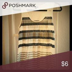 Express cotton striped tank Longer length, slouchy fit, like new Express Tops Tank Tops