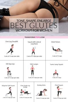 How to Get a Bigger Bum – Workout to Tone, Round and Enlarge Your Glutes Booty workout: Get Ready for Rapid Bum Growth! Get Sexy Curves with this 30 minute women's workout. Fitness Workouts, Fitness Herausforderungen, Gym Workout Tips, Fitness Workout For Women, At Home Workout Plan, Toning Workouts, Workout Challenge, Glute Exercises, Exercises To Tone Legs