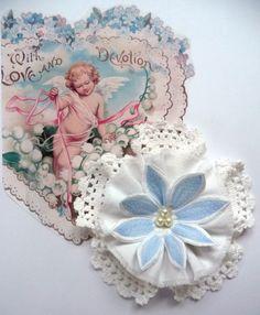 Shabby Blume weiß hellblau Vintage Spitze Hochzeit Geburt Landhaus Handarbeit