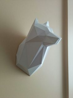 Printable Paper Model of Wolf Trophy DIY PDF Pattern by MushMool