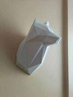 Printable Paper Model of Wolf Trophy DIY PDF Pattern by MushMool
