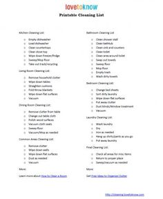 printable checklist for house cleaning - never hurts to dream that someone besides me will use it!