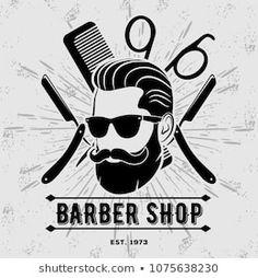 Black Man Haircut Fade, Black Men Haircuts, Barber Shop Vintage, Vintage Labels, Illustration, Badge, Baked Potato, Template, Halloween