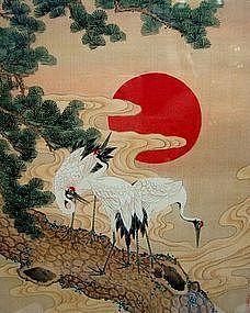 Antique Japanese Meiji Silk Painting Cranes