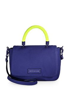"""Love the pop of neon (and the name) of Marc By Marc Jacobs' """"Too Hot To Handle"""" bag!"""
