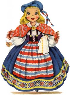 Retro Swedish Doll Image! | This pretty Girl is wearing a brightly colored costume done in Red, Blue and Yellow. She's holding a piece of fabric and appears to be doing some embroidery on it. This is the twelfth one in a series that I've been sharing here for the last few weeks, of lovely Dolls from all over the World.