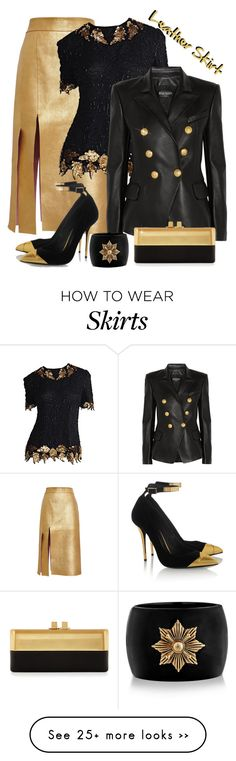 """Leather Skirt"" by lorrainekeenan on Polyvore featuring Nina Ricci, Balmain, Alexander McQueen and Sondra Roberts"