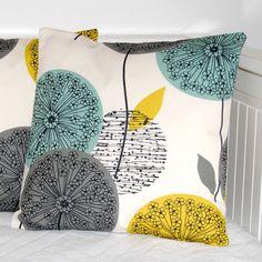 teal grey mustard decorative pillow cover por LittleJoobieBoo