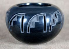 $335 Outlined, Carved, Polished Blackware Jar with Stepped Designs, Pottery by Marie Suazo