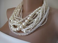 Chunky Wedding necklace. , Handmade,Bold Bridal,layered ,precious rhinestones necklace... $125.00, via Etsy.
