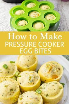 How to Make Pressure Cooker Egg Bites! In addition to looking darn adorable, these pressure cooker egg bites are super delicious and easy to make! Just like Starbucks' egg bites, but better because you made them yourself! #eggbites #eggs #pressurecooker #instantpot #simplyrecipes