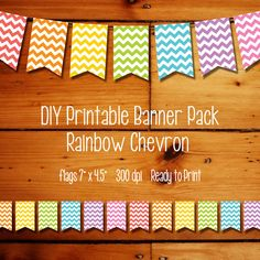 INSTANT DOWNLOAD - DIY Chevron Party Printable Flag Banner - Rainbow Chevron - event decorations, bunting decor, rainbow party, art party on Etsy, $6.99
