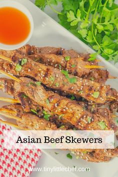 easy to make and packed with amazing Asian-inspired flavor, these make the perfect appetizer or light dinner. Beef Skewers, Asian Beef, Little Chef, Appetizers, Recipes, Food, Steak Skewers, Appetizer, Eten
