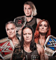 This is pretty awesome group of Womens Champions! RAW Womens Champion: Ronda Rousey, Formee SD Womens Champion: Becky Lynch, Former NXT UK Womens Champion: Rhea Ripley & NXT Womens Champion: Shayna Baszler Ronda Rousey Wwe, Wrestlemania 32, Shayna Baszler, Wwe Women's Division, Wwe Girls, Mma Boxing, Wwe Female, Wwe Champions, Raw Women's Champion